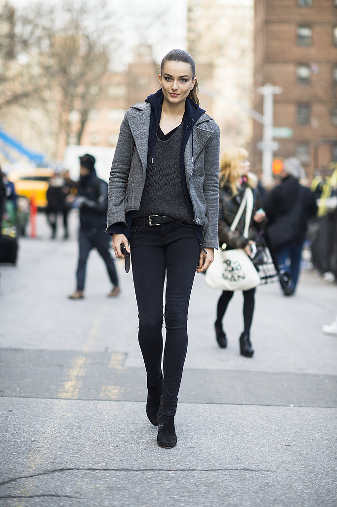 Rather than slick leather, a gray, wool moto jacket lent more warmth to this all-black ensemble. Source: Le 21ème | Adam Katz Sinding