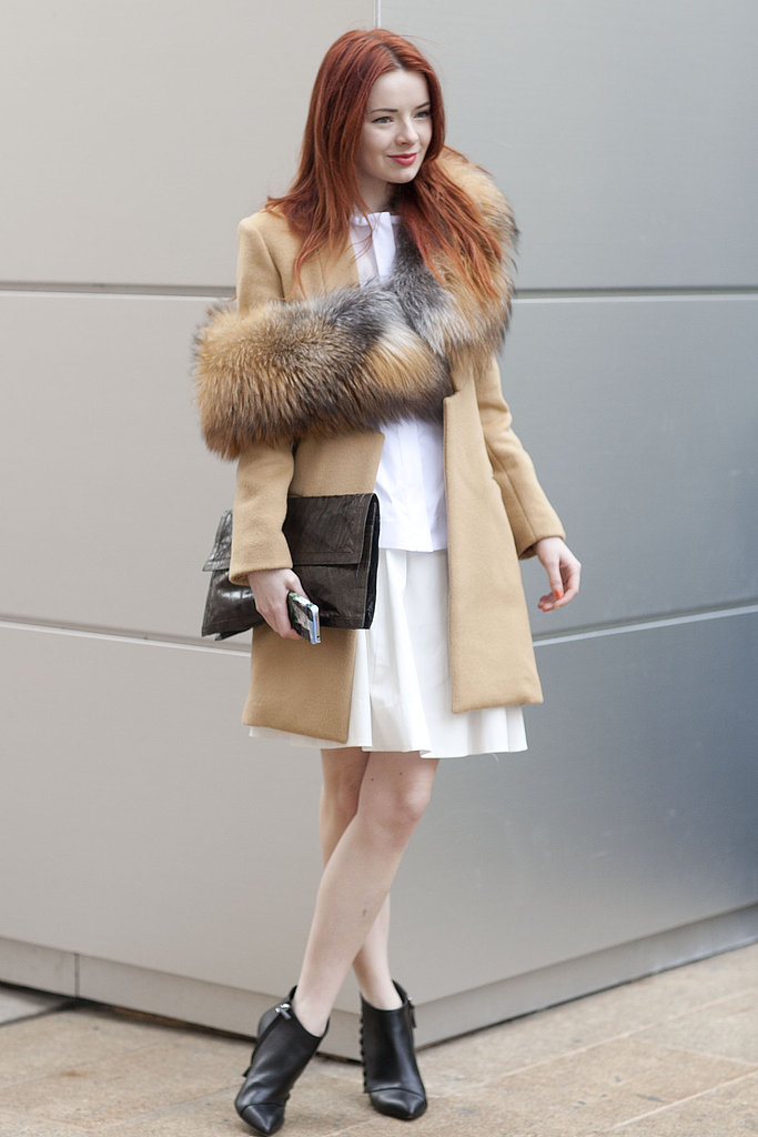 Sea of Shoes' Jane Aldridge paired a luxurious fur snood with a classic camel coat.