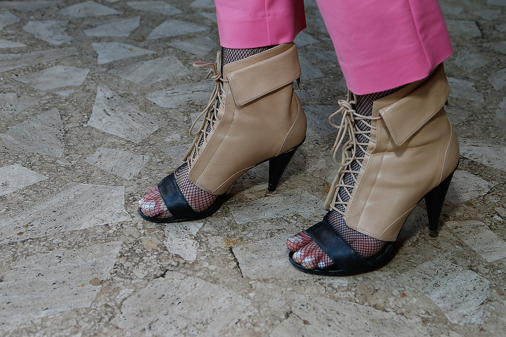 These open-toed booties were right on trend outside Lincoln Center.