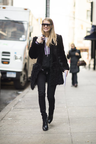 We love how the fur finish on her coat supplied an uptown-luxe to her downtown style. Source: Le 21ème | Adam Katz Sinding