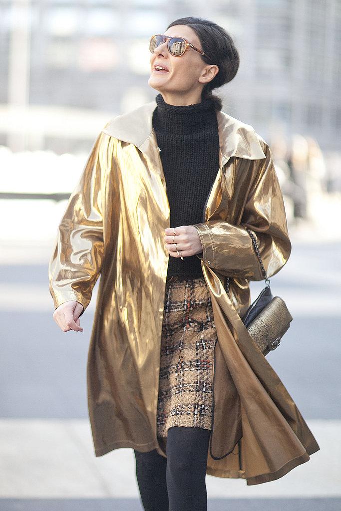 Giovanna Battaglia made her mark in gilded outerwear.