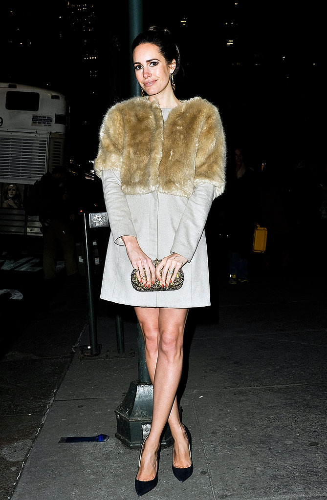 Louise Roe exuded luxe in a fur-paneled coat on her way out of Marchesa.
