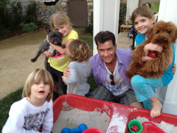 Charlie Sheen told the world how much he loves being outnumbered by his kids. Source: Twitter user charliesheen