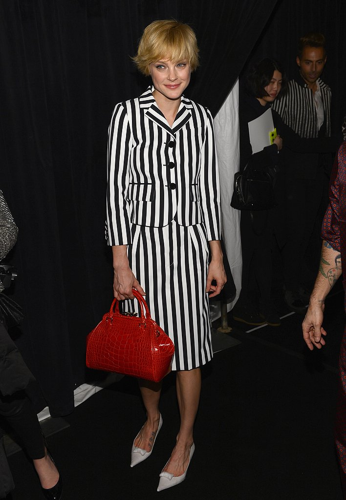 Jessica Stam wore a striped suit.