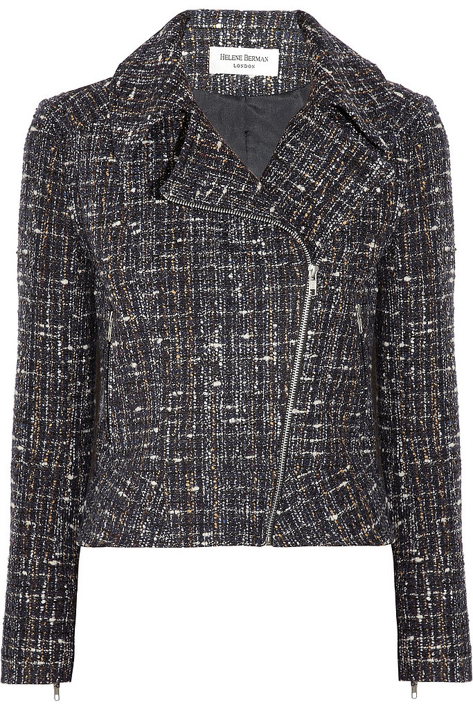 We'd wear this Helene Berman bouclé moto jacket ($113, originally $225) with a cute little slip dress and ankle boots.