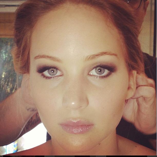Jennifer Lawrence Oscars makeup by Jillian Dempsey. Source: Instagram user jilliandempsey