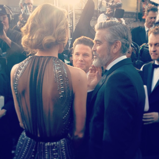 George Clooney and Stacy Kiebler chatted with the press at the Oscars. Source: Instagram user theacademy