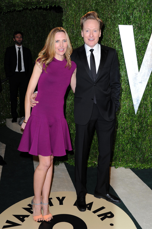 Conan O'Brien and Elizabeth Ann Powel arrived at the Vanity Fair Oscar party on Sunday night.