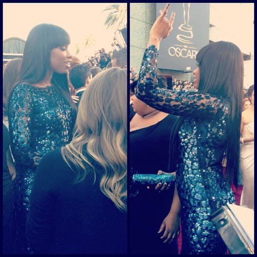 Jennifer Hudson waved on the Oscars red carpet. Source: Instagram user theacademy