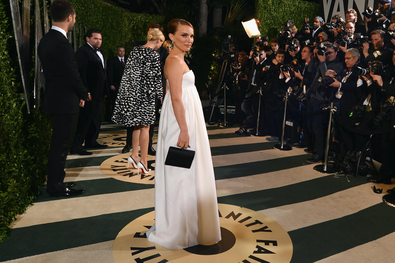Natalie Portman arrived at the Vanity Fair Oscar party on Sunday night.