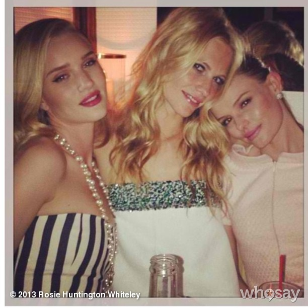 Rosie Huntington-Whiteley partied with Poppy Delevingne and Kate Bosworth during the Chanel event on Saturday. Source: Instagram user rosiehw