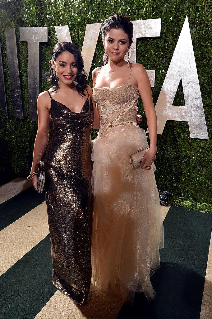 Vanessa Hudgens and Selena Gomez arrived at the Vanity Fair Oscar party on Sunday night.