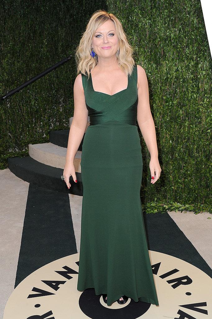 Amy Poehler arrived at the Vanity Fair Oscar Party on Sunday night.