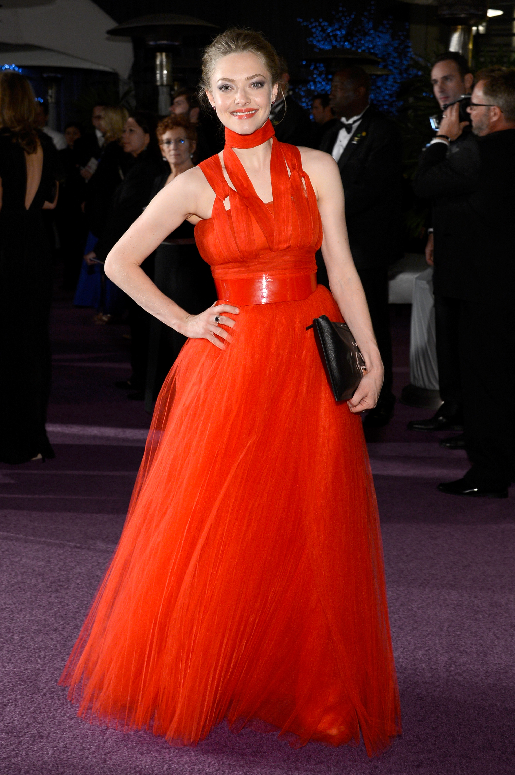 Amanda Seyfried wore a long red gown to the Governors Ball.