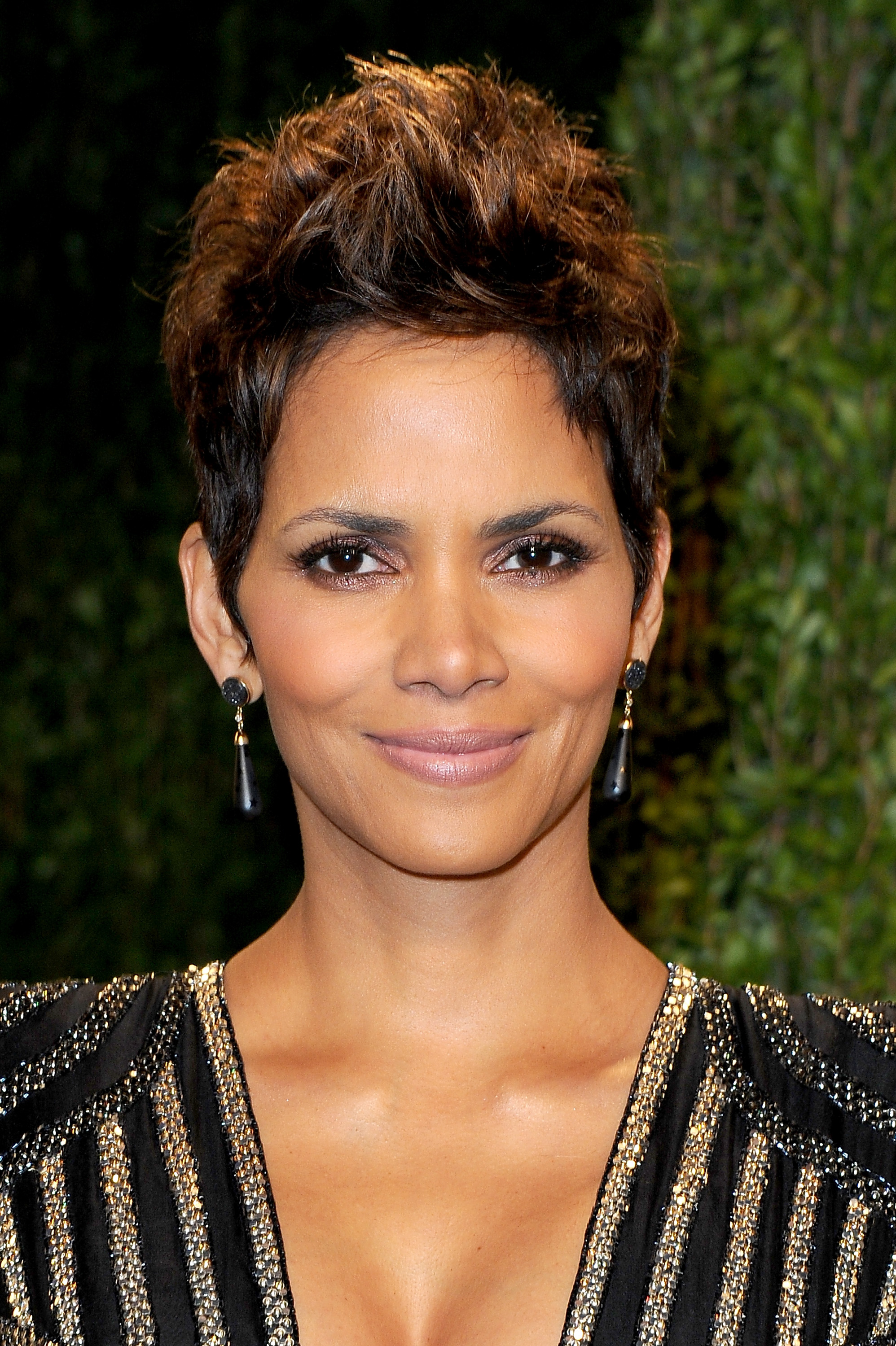 Halle Berry arrived at the Vanity Fair Oscar party on Sunday night.