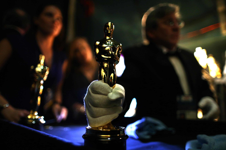 A close-up of an Oscar.