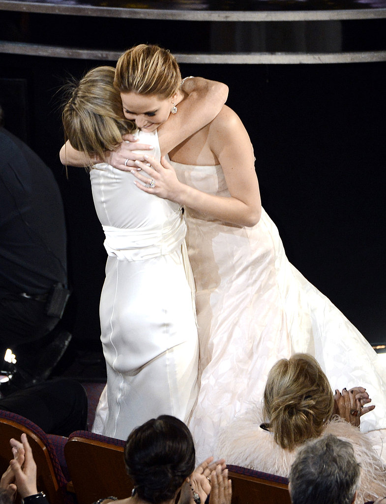 Jennifer Lawrence got a hug from her mom, Karen Lawrence, after winning best actress.