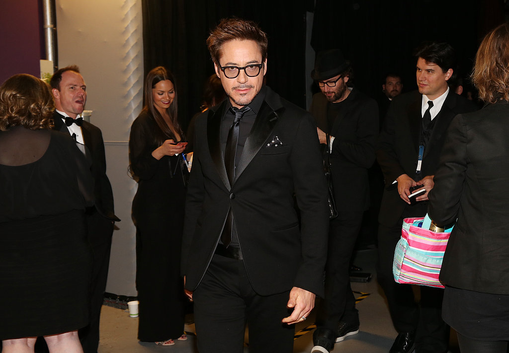Robert Downey Jr. backstage at the 2013 Oscars.