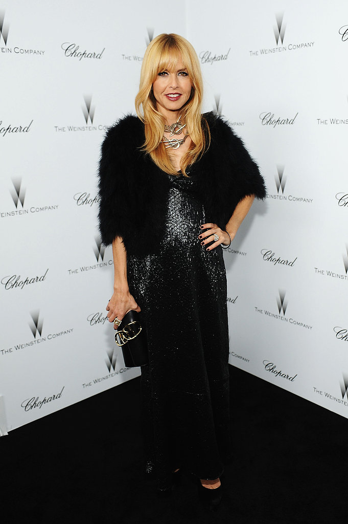 Rachel Zoe chose her signature — sparkles and fur — for the Weinstein bash in LA.