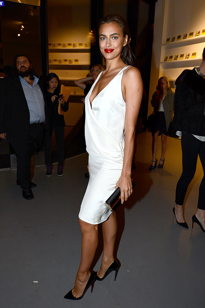 Irina Shayk was pristine in an LWD with black pointy-toe pumps at the Mario Testino soiree.
