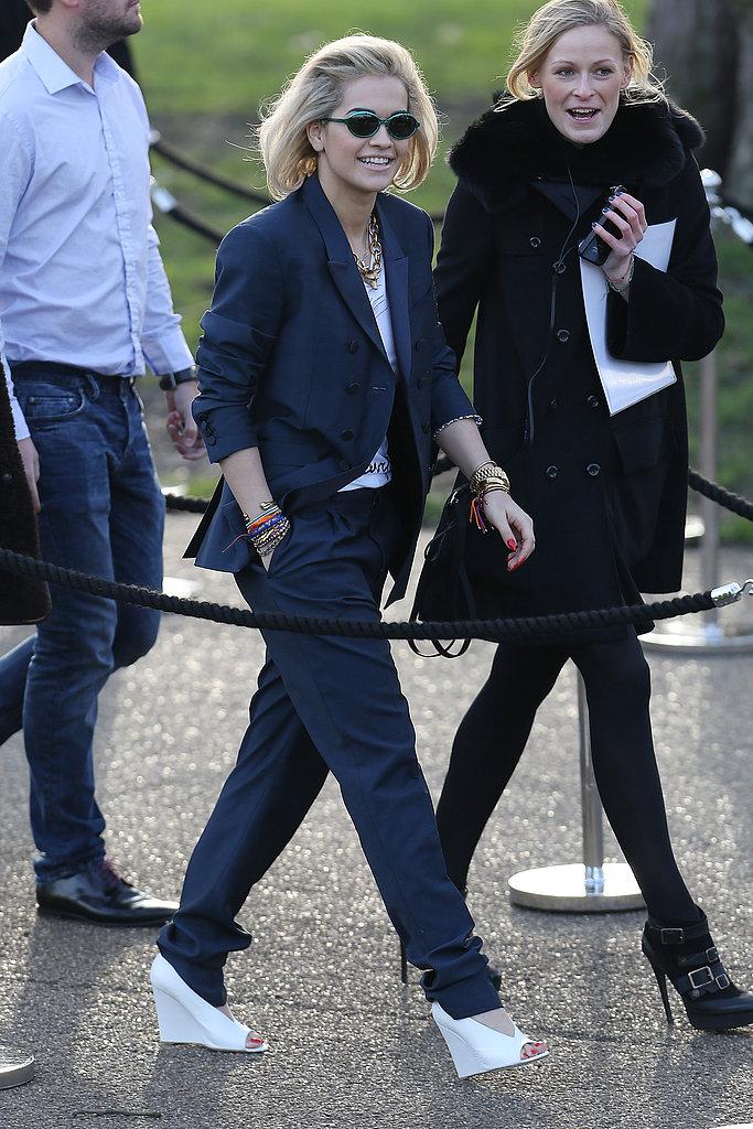 On Monday, Rita Ora arrived at the Burberry Prorsum Autumn/Winter 2013 fashion show.