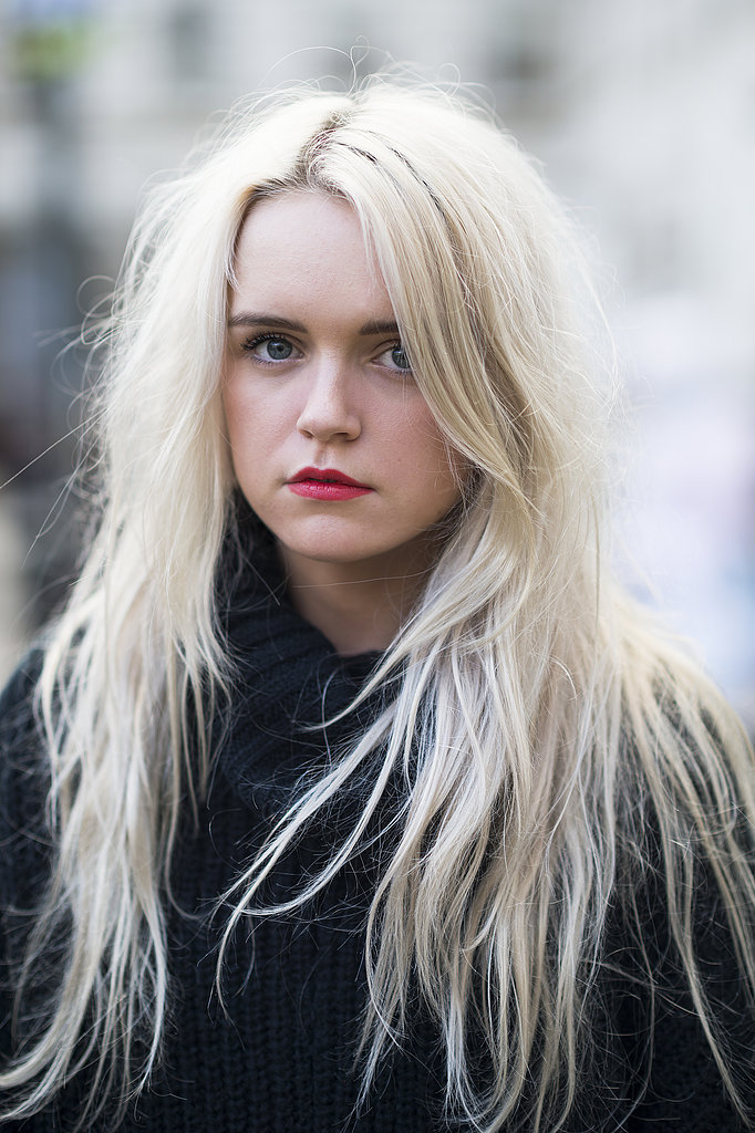 A classic red lip looked current with Jessica Wakeman's textured hair. Source: Le 21ème   Adam Katz Sinding
