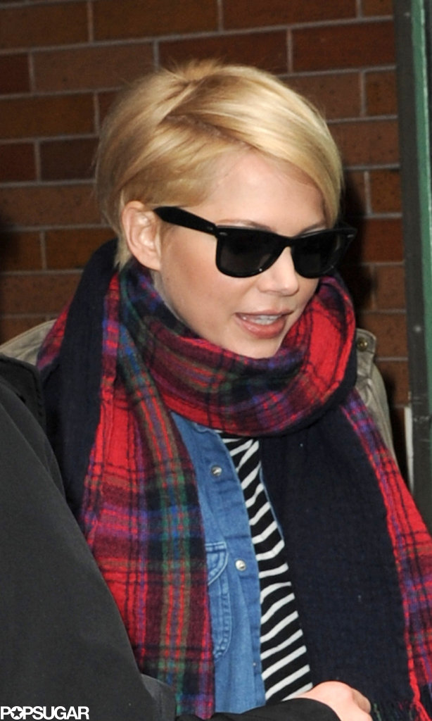 Michelle Williams wore a scarf and sunglasses after her appearance on Good Morning America in NYC.