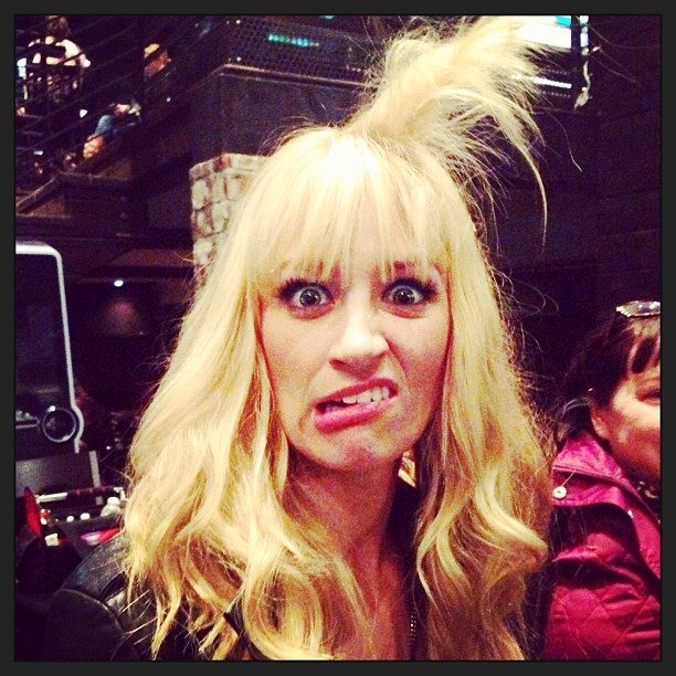 Beth Behrs of 2 Broke Girls showed off a crazy hairstyle. Source: Twitter user BethBehrs