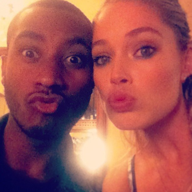 Doutzen Kroes made kissy faces with her husband, Sunnery James. Source: Instagram user douztenkroes1
