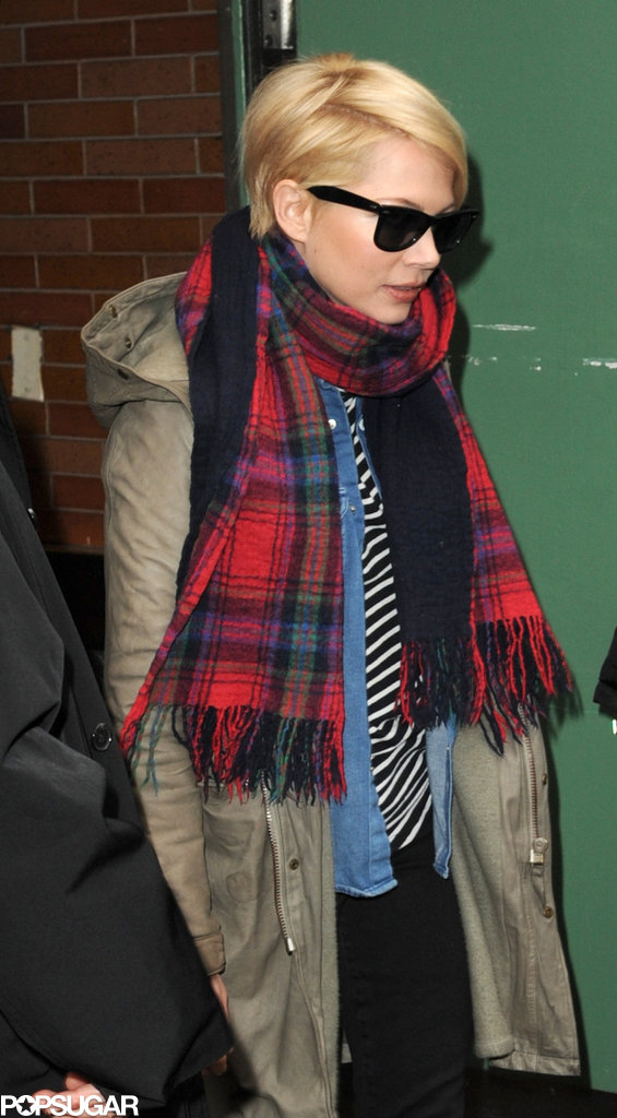 Michelle Williams wore a plaid scarf and green jacket in NYC.