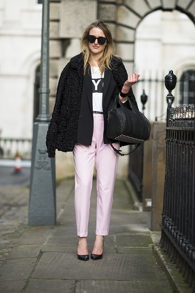 We love the sweet feel that pastel pants added to a black fur and studded Alexander Wang bag. Source: Le 21ème | Adam Katz Sinding