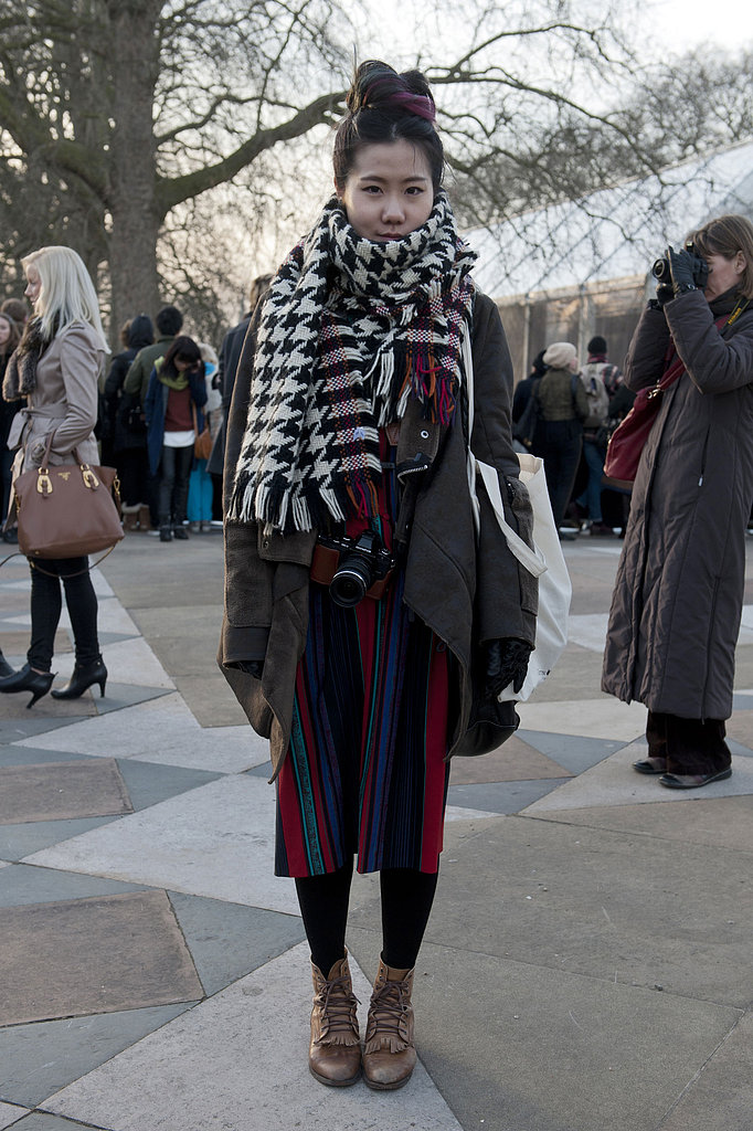 Bundled up in textural and subtle print play.