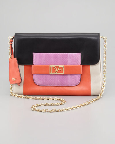 Diane von Furstenberg Mimosa Snake-Detailed Colorblock Clutch Bag