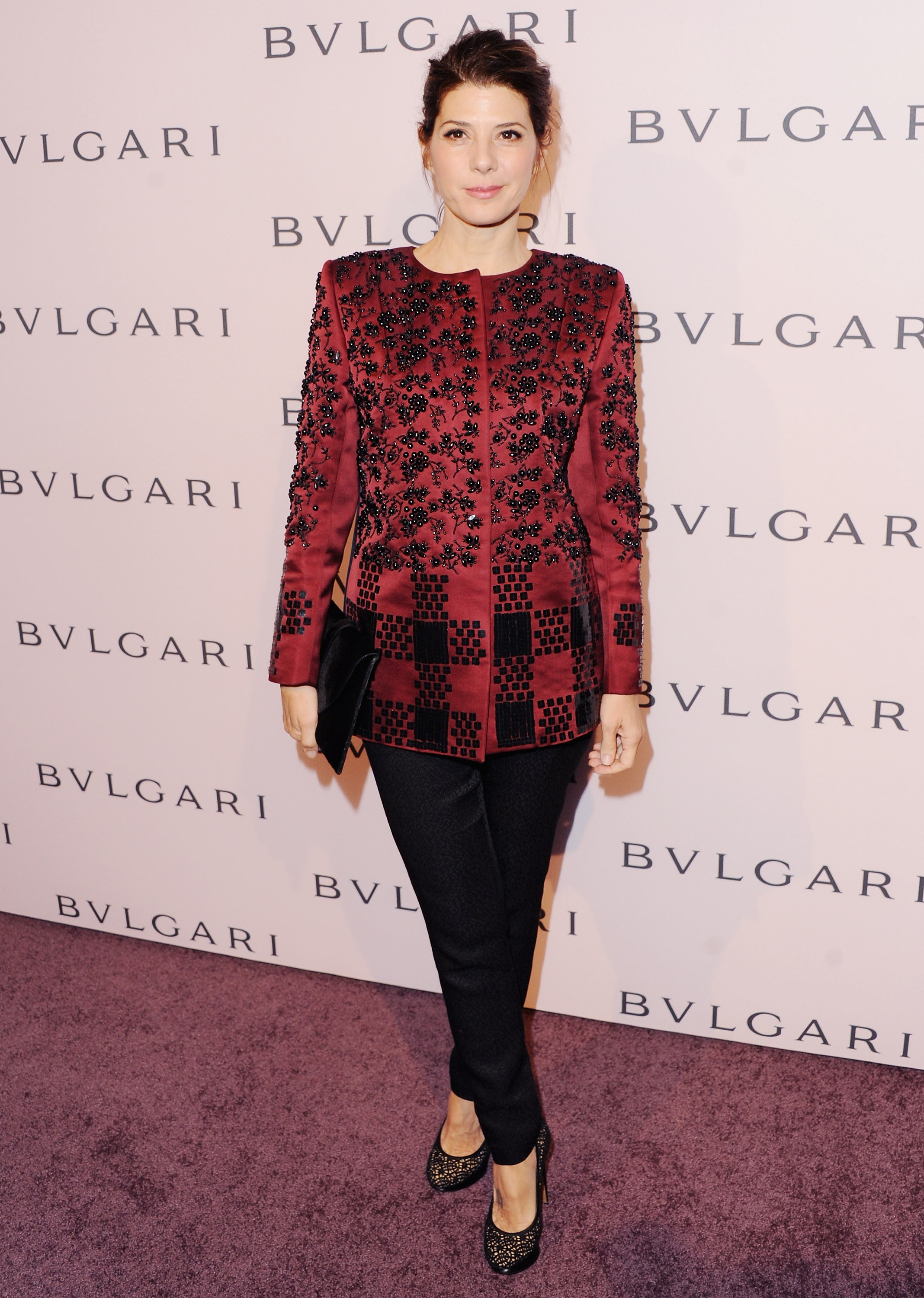 Marisa Tomei wore a red jacket.