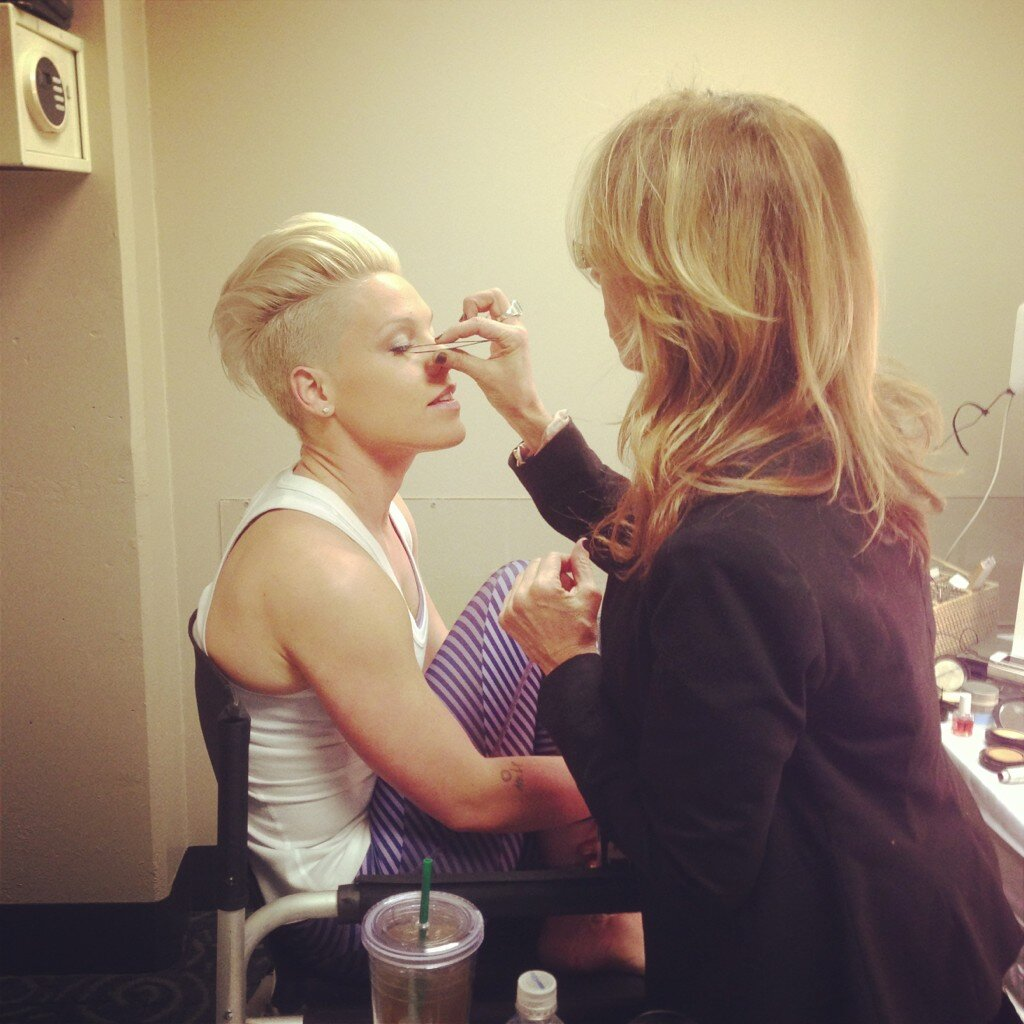 Pink got her makeup touched up before performing at the Staples Center. Source: Twitter user Pink