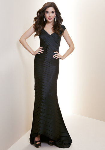 Floor Length Tiered Satin Gown