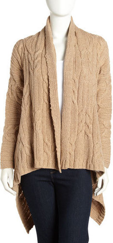 Lafayette 148 New York Handkerchief Cable Knit Cardigan, Camel
