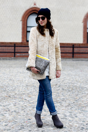 The furry texture gave this minimalist coat luxe appeal.