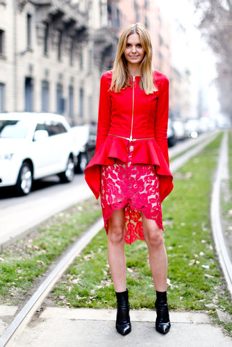 Statement red in ladylike cuts.