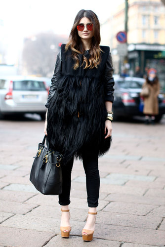 Layers of fur met leather and mirrored shades for an edgier effect.