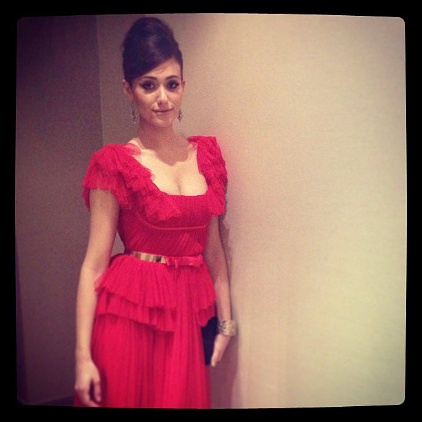 Emmy Rossum snapped a photo of her red chiffon pleated Zuhair Murad dress before attending the premiere of Beautiful Creatures in Mexico City. Source: Instagram user emmyrossum