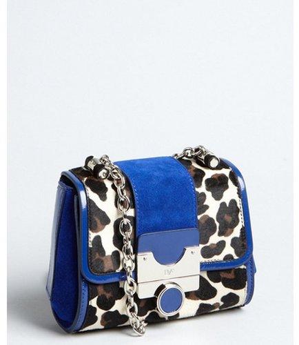 Diane Von Furstenberg leopard print calf hair and lapis suede 'Mini Keller' chain strap shoulder bag
