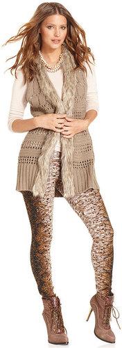 Bar III Sweater, Sleeveless Knit Faux-Fur Vest