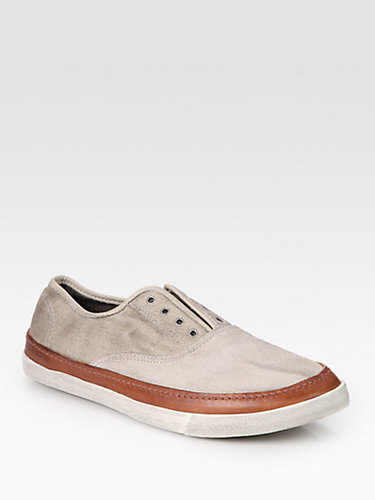 Converse by John Varvatos John Varvatos Laceless Suede, Cotton and Leather Sneakers