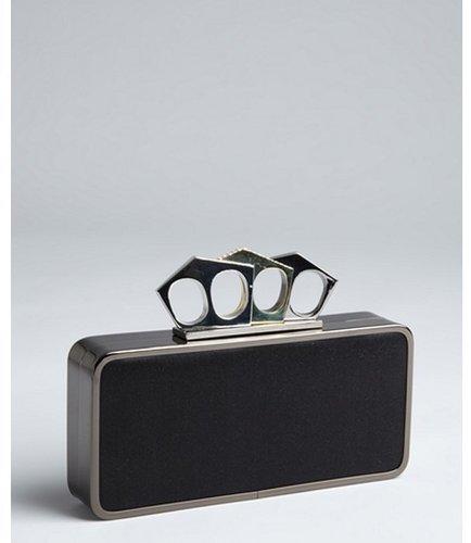 BCBGMAXAZRIA black metal frame 'Ophelia' knuckle duster minaudiere
