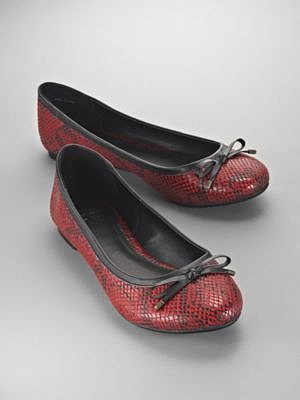 Faux Red Snakeskin Ballet Flats