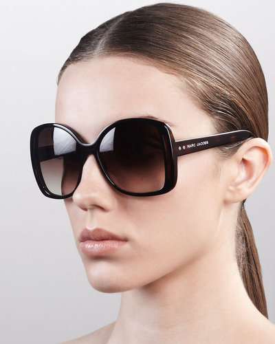 Marc Jacobs Oversized Oval Sunglasses, Black/Dark Tortoise