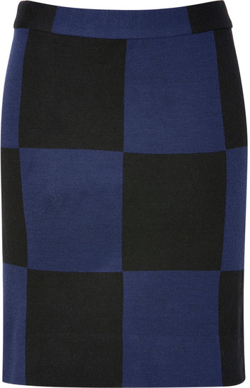 Marc by Marc Jacobs New Prussian Blue Multicolored Checkered Skirt