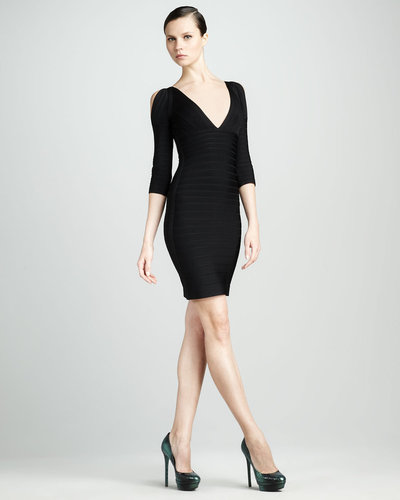 Herve Leger Slit-Sleeve Bandage Dress, Black