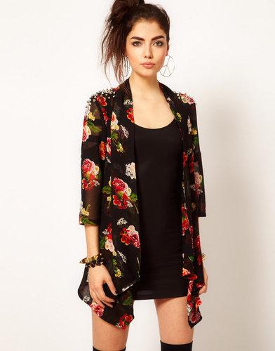 Reverse Floral Chiffon Stud Shoulder Kimono